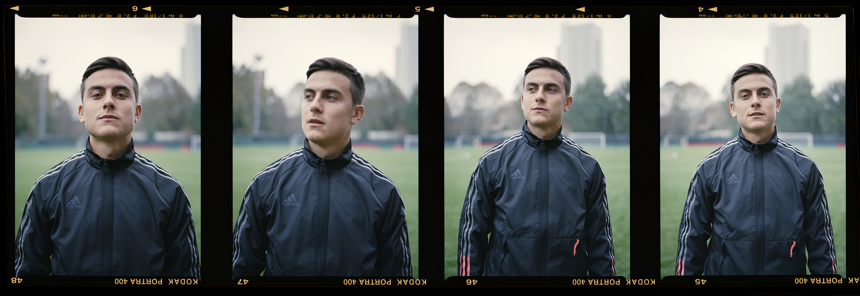 Strip of four medium format film photographs of football player Paulo Dybala