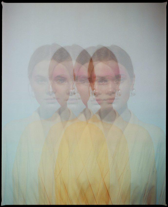 colour multiple exposure photograph of fashion model Eleonora Sharovaya