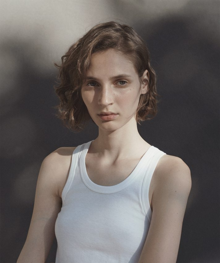 Colour film photo of model Eleonor Ghiuritan