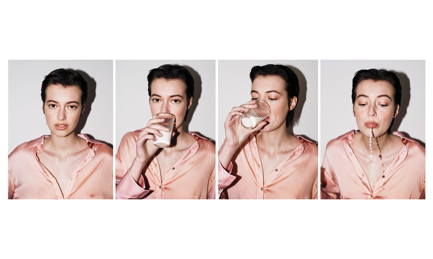 4up photograph of model Iris Delcourt of Viva models drinking milk