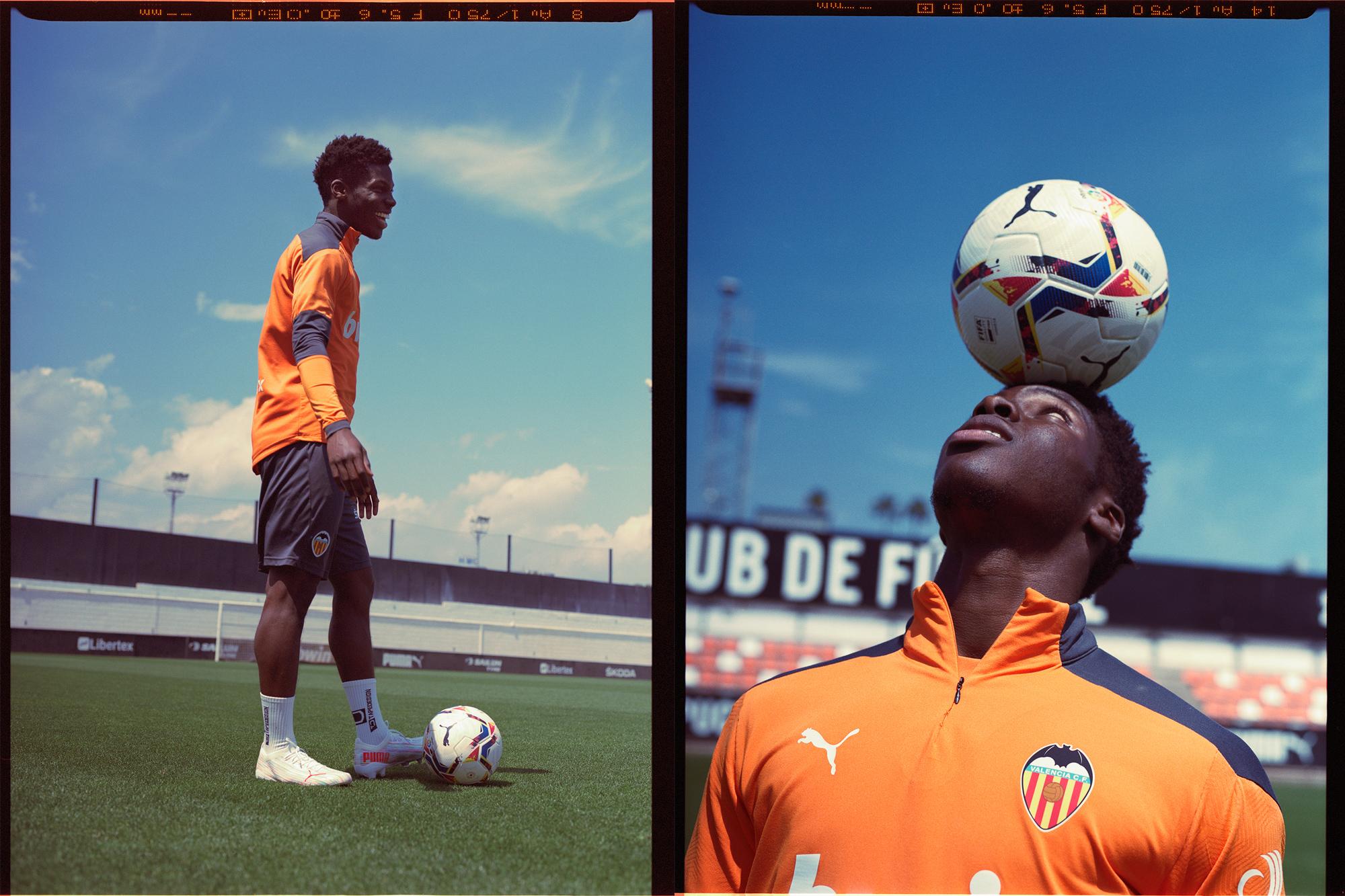 Colour medium format photo of football player Yunus Musah