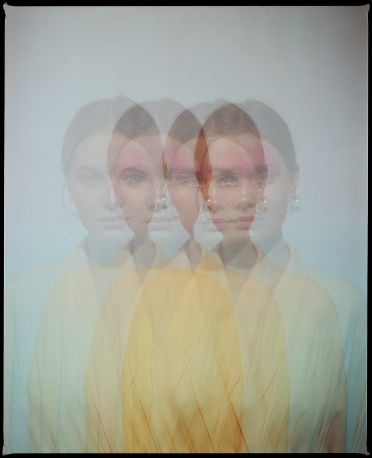 colour multiple exposure photograph of fashion model Eleonora Sharovaya