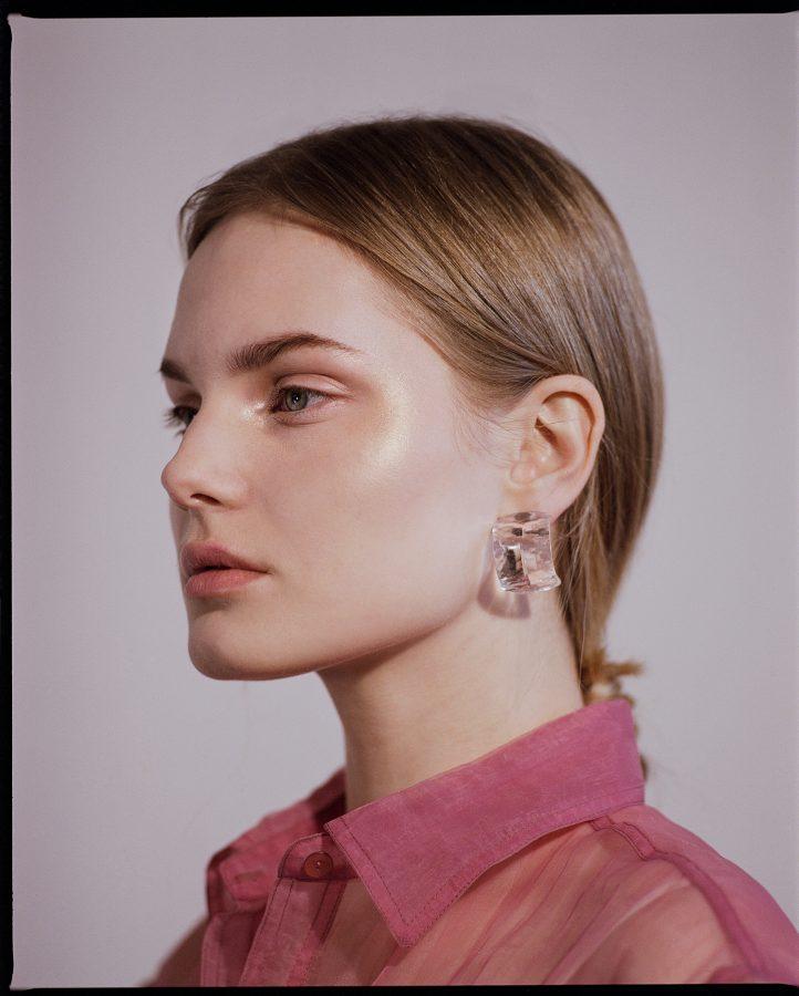 colour medium format film photograph of fashion model Eleonora Sharovaya