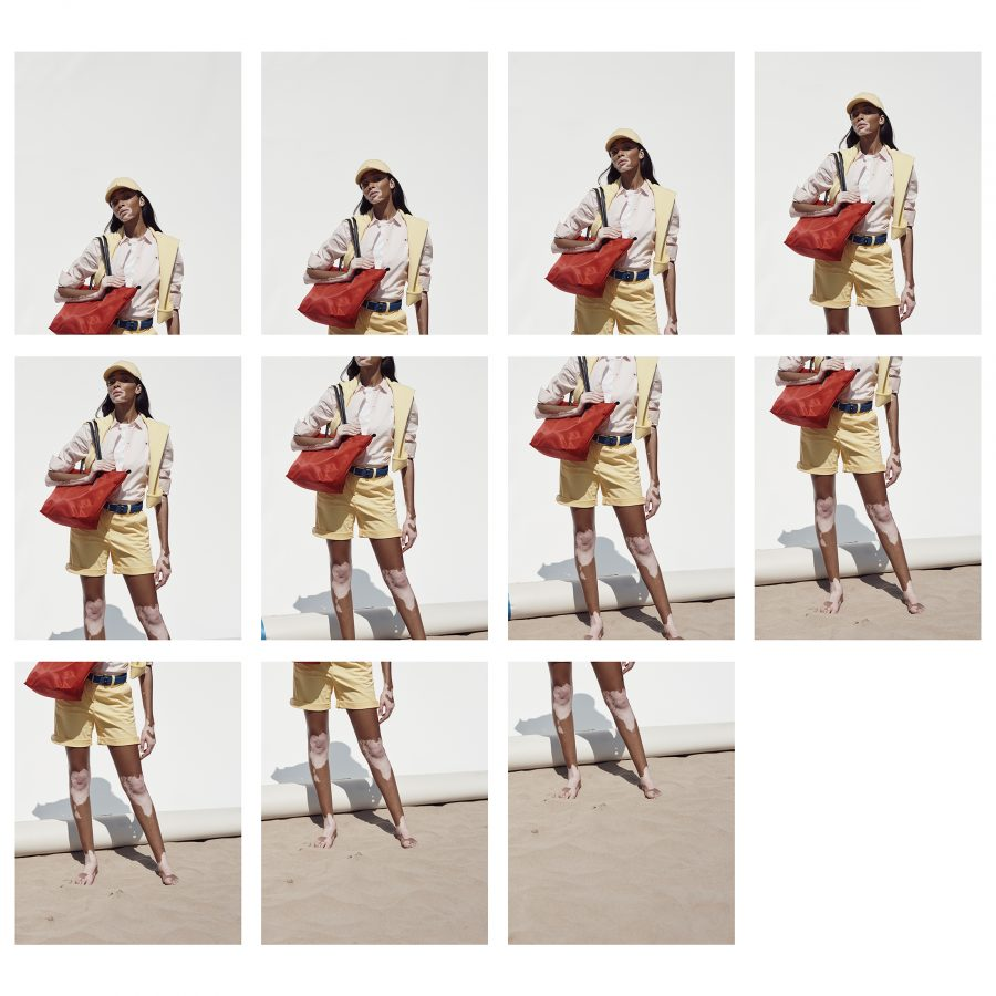 Multi image sequence of Winnie Harlow for Tommy Hilfiger