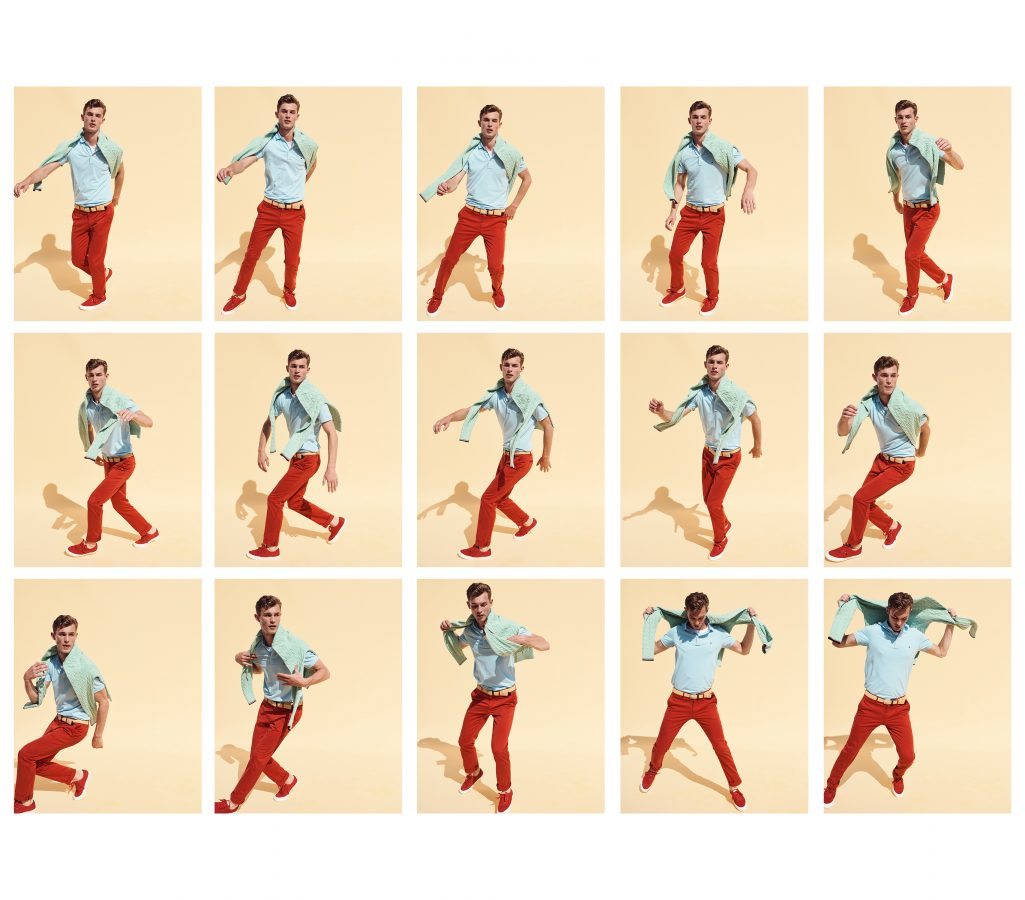 Sequence of photographs of Kit Bulter Dancing wearing Tommy Hilfiger