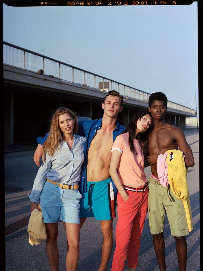 Hana Jirickova, Kit Butler, Gao Jie, Alton Mason wearing Tommy Hilfiger