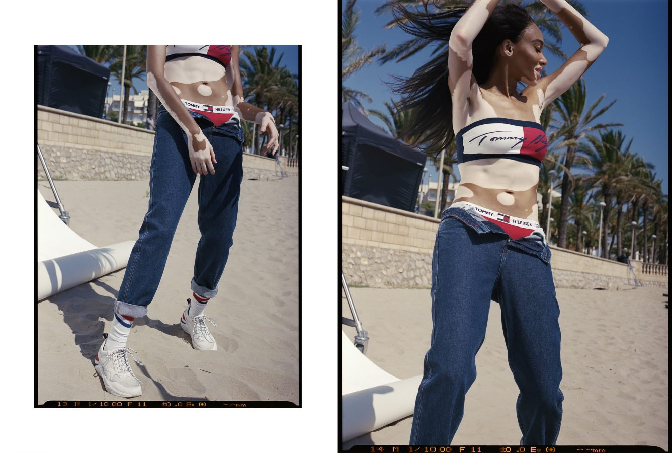 Colour film photographs of model Winnie Harlow for Tommy Hilfiger